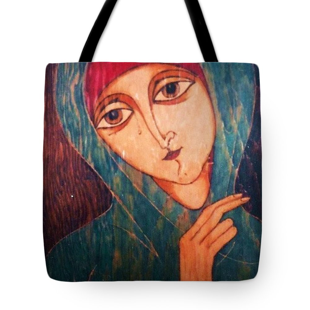 Original Art Tote Bag featuring the greeting card Madonna by Rae Chichilnitsky