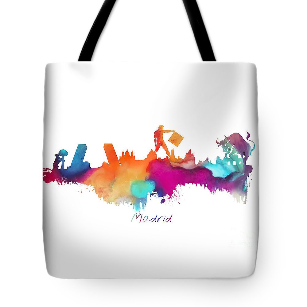 Madrid Tote Bag featuring the digital art Madrid Colored Skyline by Justyna JBJart