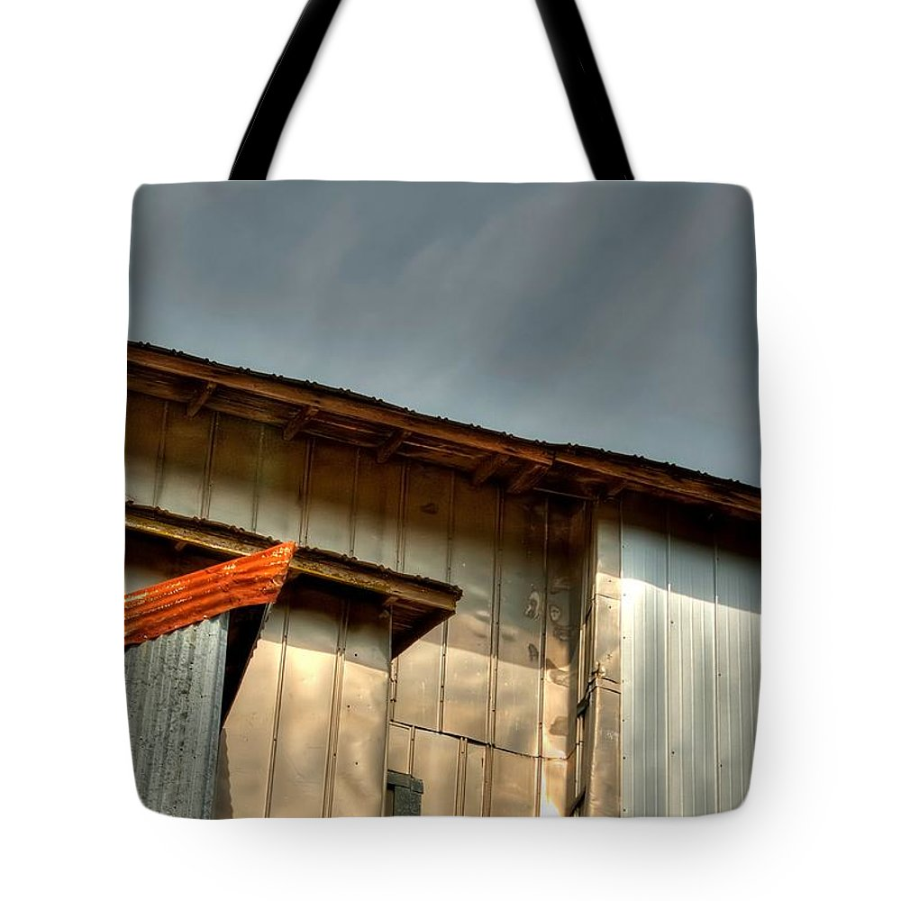 1996 Tote Bag featuring the photograph Madsen Grain Co Elevator by Jerry Sodorff