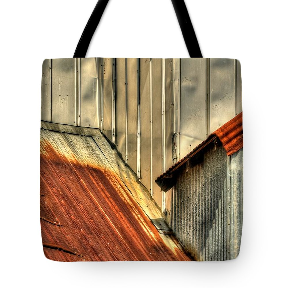 1996 Tote Bag featuring the photograph Madsen Grain Roof by Jerry Sodorff