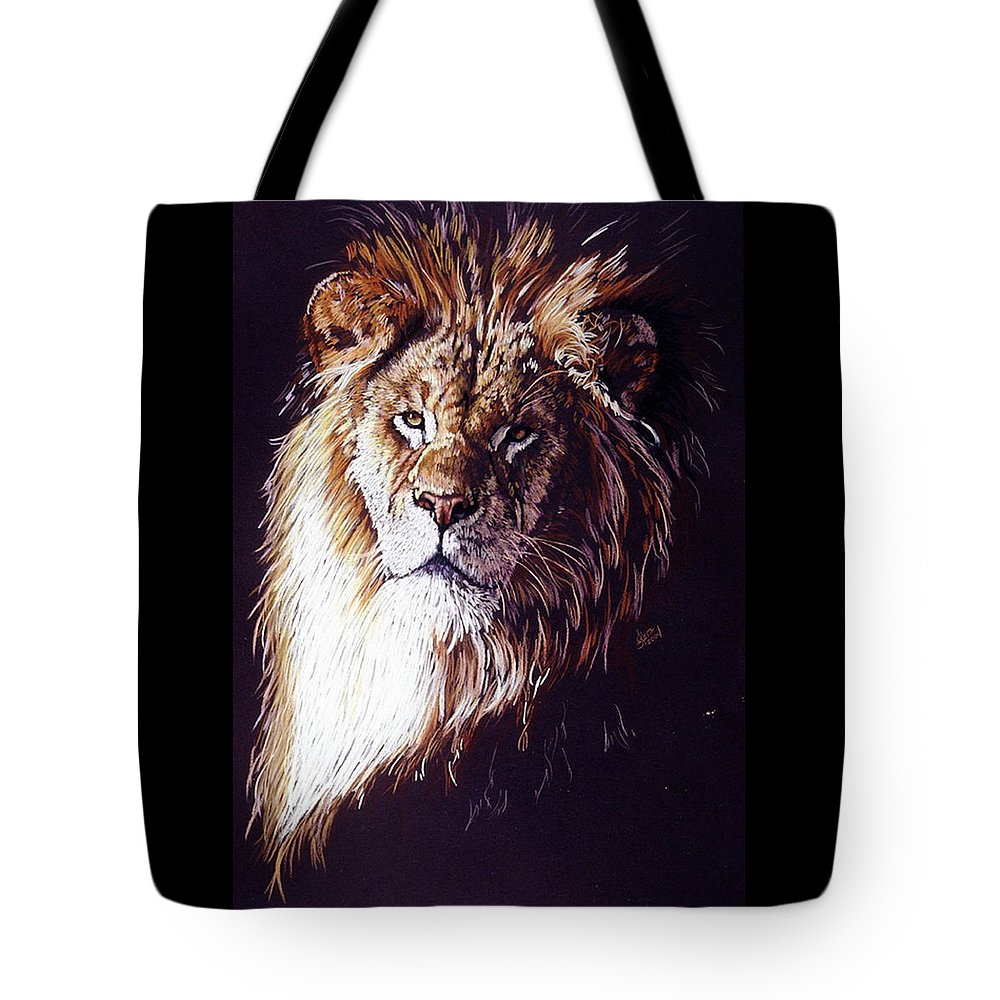 Lion Tote Bag featuring the drawing Maestro by Barbara Keith