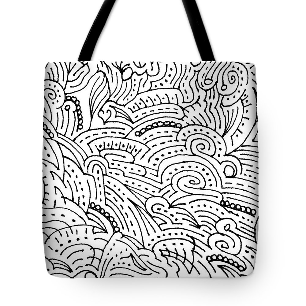 Mazes Tote Bag featuring the drawing Magdalena by Steven Natanson