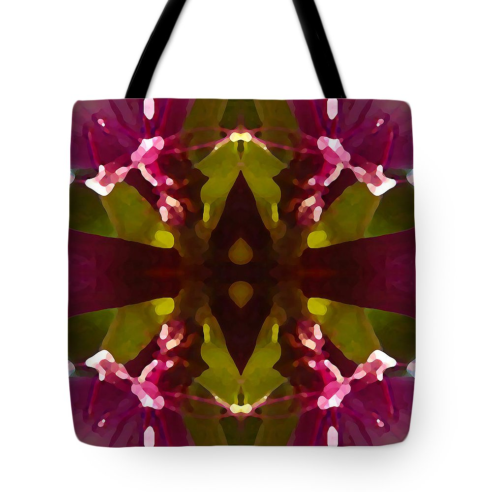 Abstract Painting Tote Bag featuring the digital art Magent Crystal Flower by Amy Vangsgard