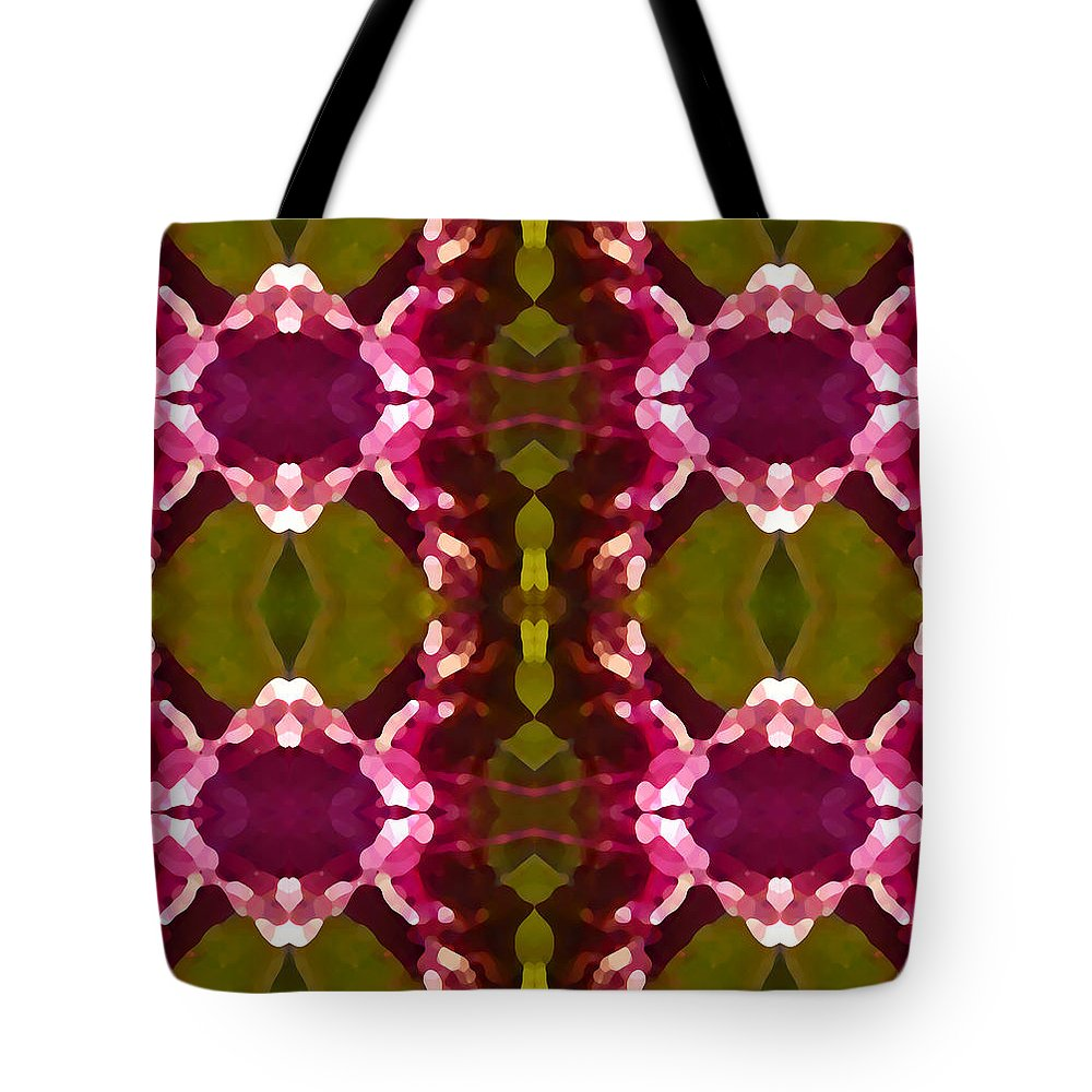 Abstract Painting Tote Bag featuring the digital art Magenta Crystals Pattern 2 by Amy Vangsgard