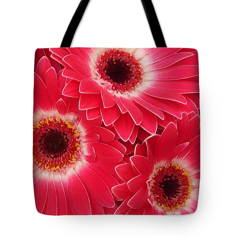 Daisy Tote Bag featuring the painting Magenta Gerber Daisies by Amy Vangsgard