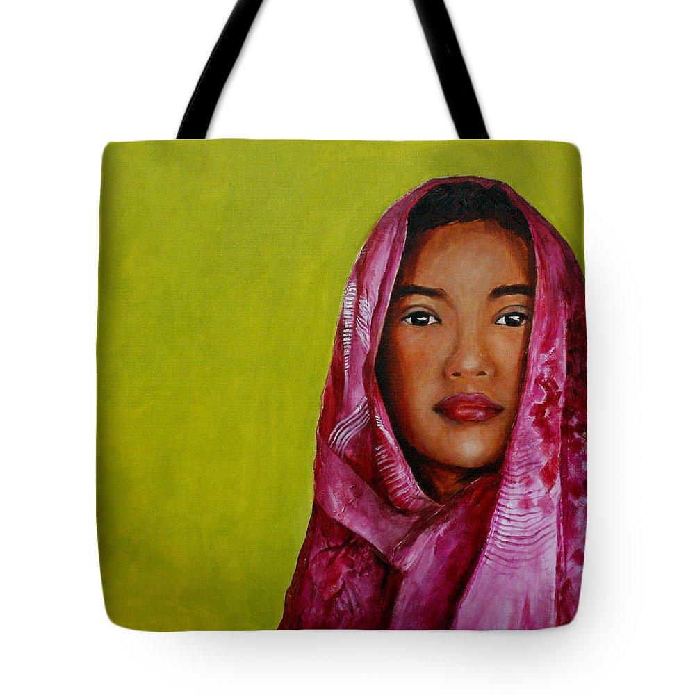 Magenta Tote Bag featuring the painting Magenta Girl by Jun Jamosmos