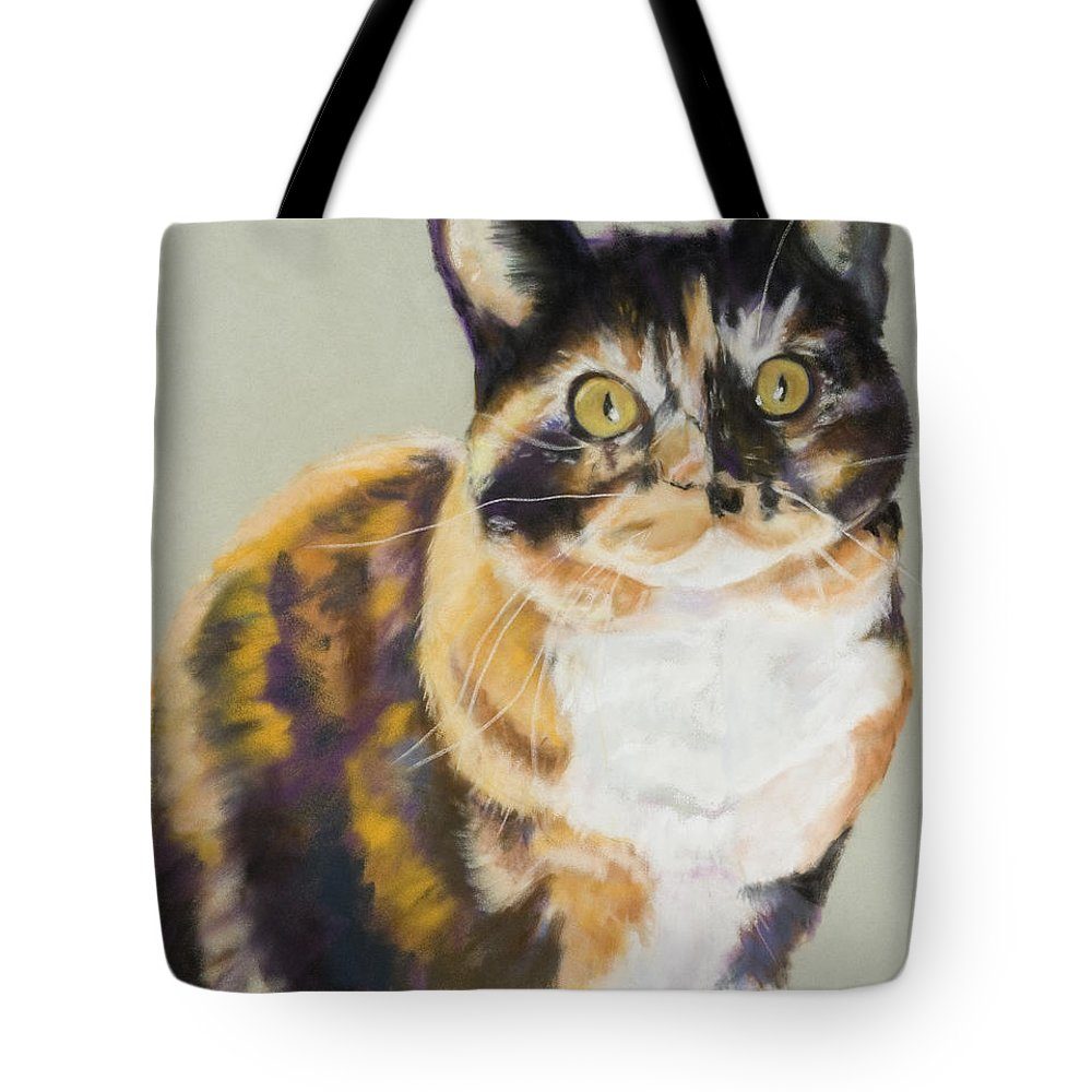 Calico Tote Bag featuring the painting Maggie Mae by Pat Saunders-White