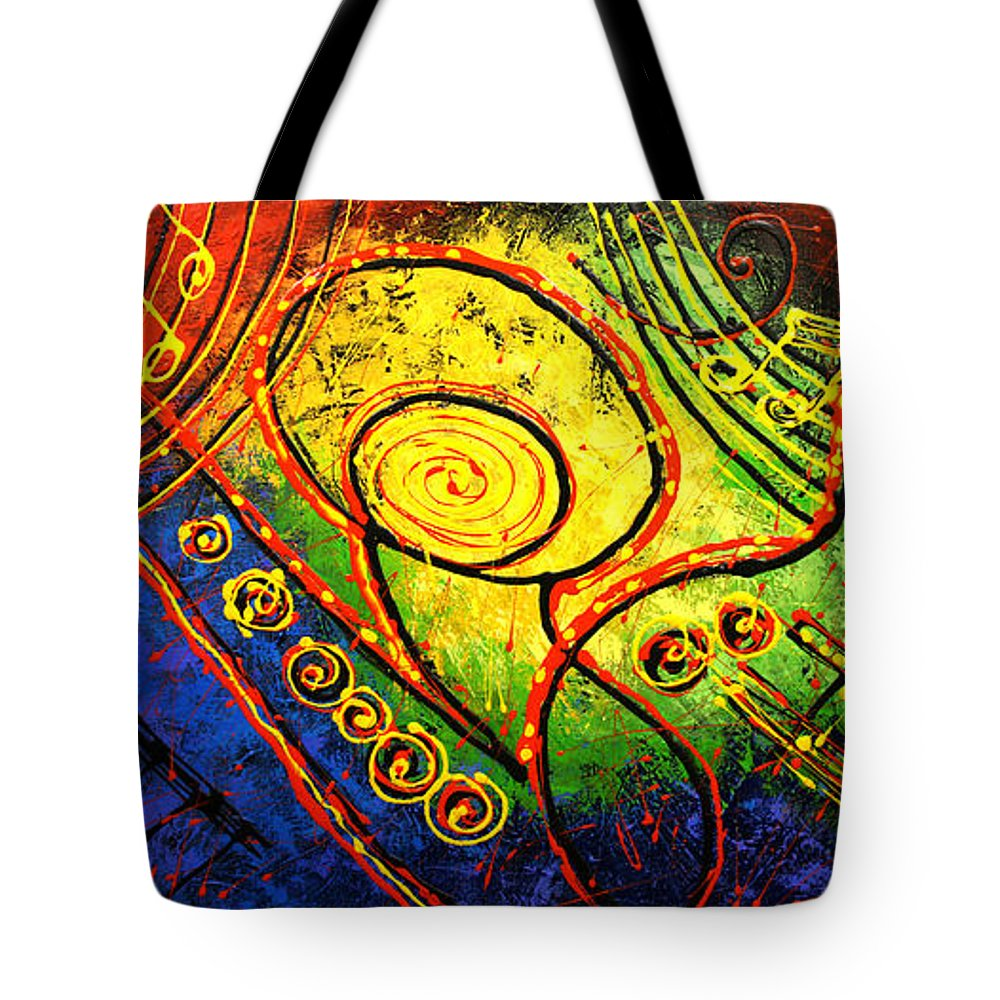 West Coast Jazz Tote Bag featuring the painting Magic Guitar by Leon Zernitsky