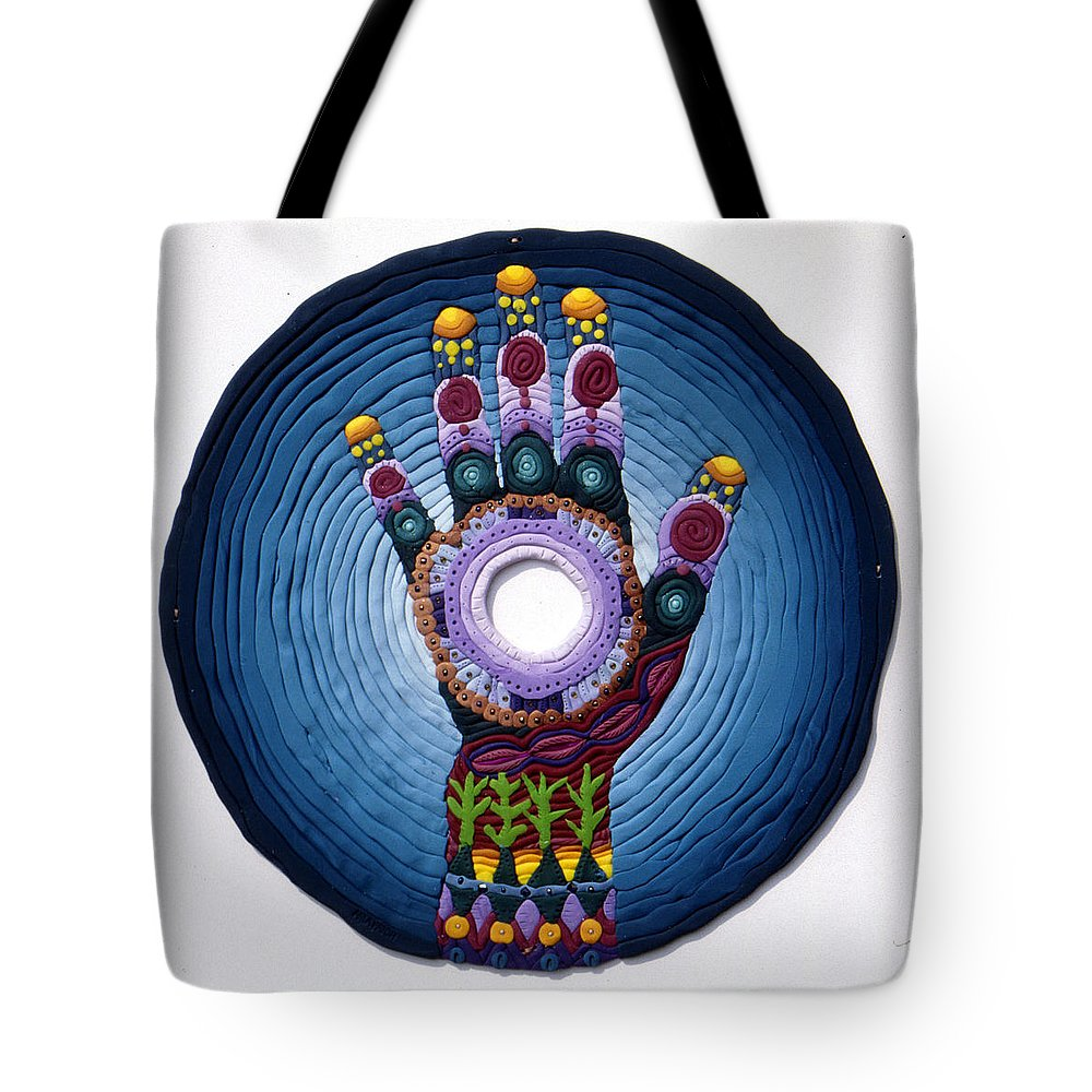 Mandala Tote Bag featuring the relief Magic Hand by Arla Patch