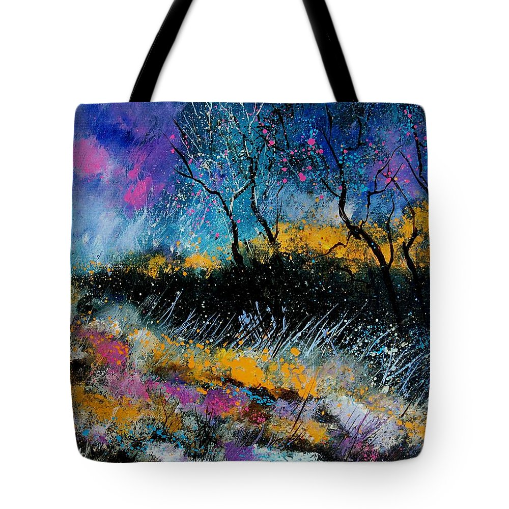 Landscape Tote Bag featuring the painting Magic Morning Light by Pol Ledent