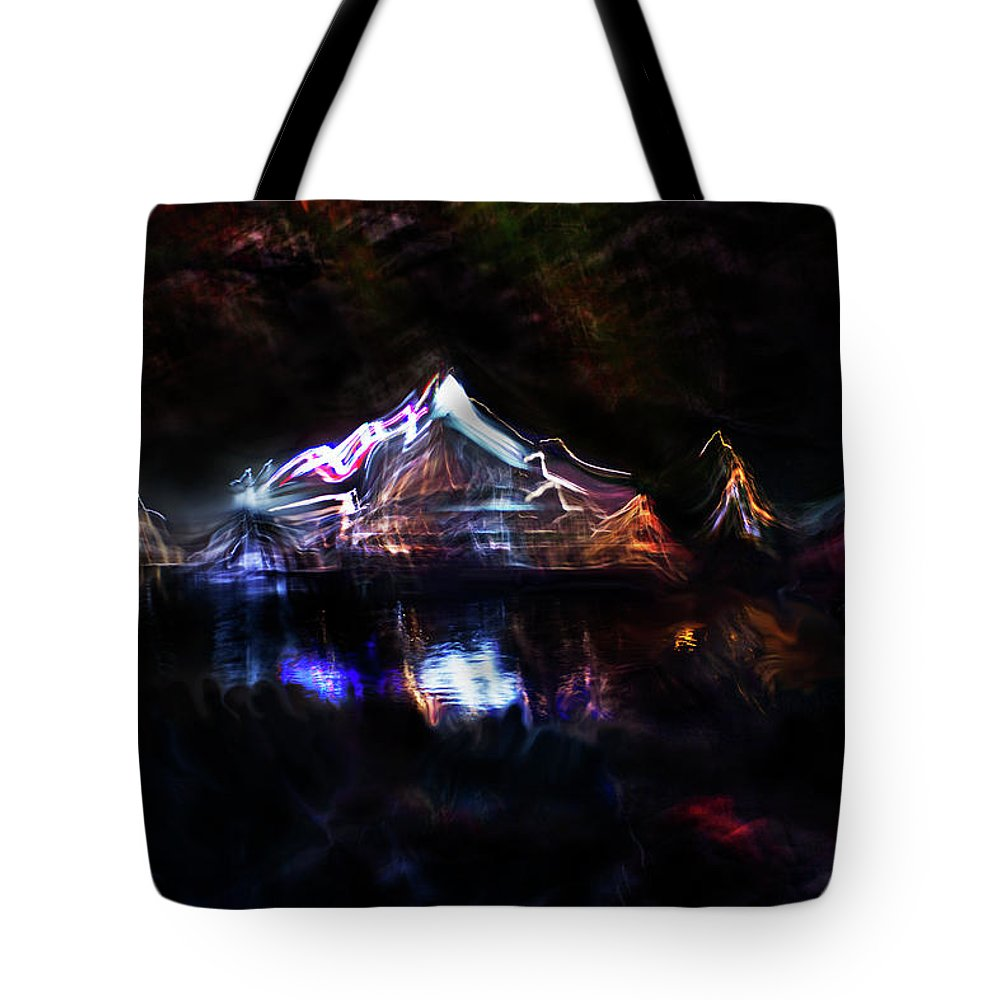 Light Painting Tote Bag featuring the mixed media Magic Mountain Lake by Benjamin Lucas