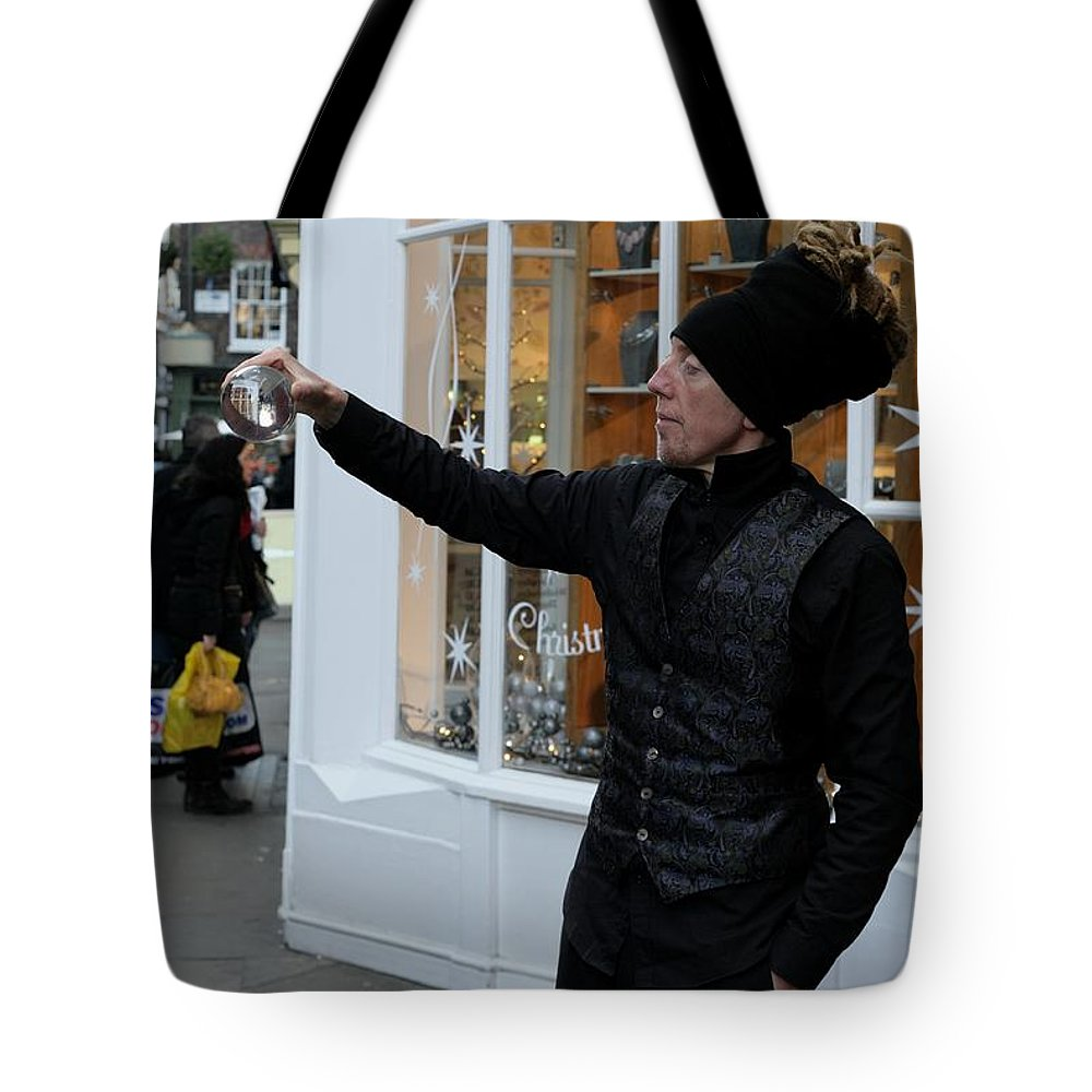 Magic Magical Magician York Street England Shops Shopping Shoppers Festive Glitter Family Entertained Illusions Stage Show Christmas Supernatural Fun Trick Crystal Ball Future Public Community Society Shop Economy Window Decoration Tote Bag featuring the photograph Magical Christmas by Lens Artist