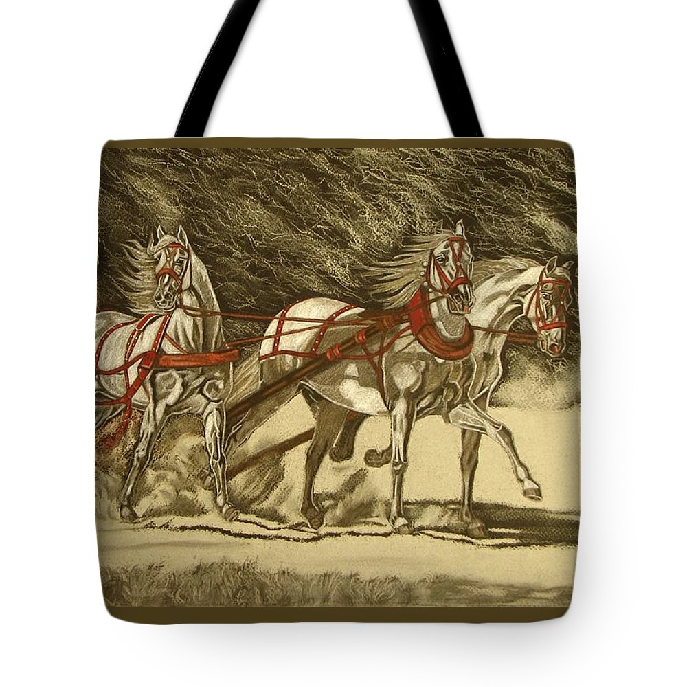 Horse Tote Bag featuring the drawing Magical Christmas by Melita Safran