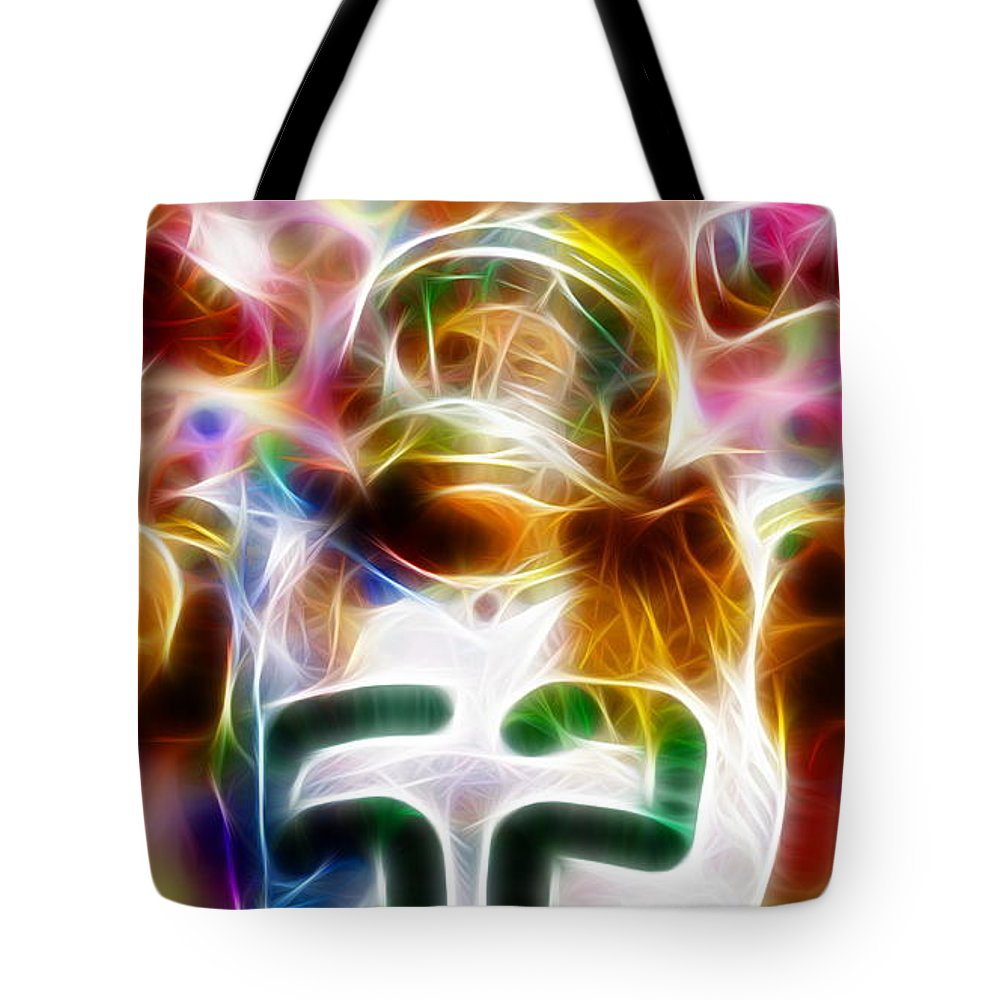 Clay Matthews Tote Bag featuring the drawing Magical Clay Matthews by Paul Van Scott