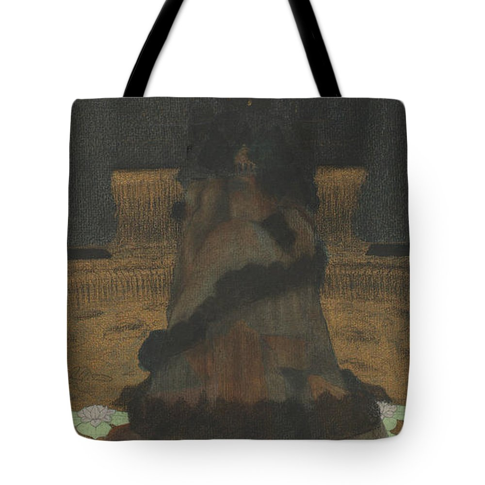 19th Century Art Tote Bag featuring the drawing Magical Holy Mountain Within A Lotus-filled Sea by Herbert Crowley