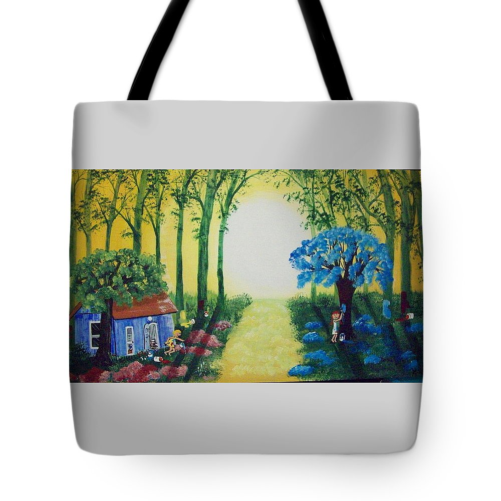 Folk Tote Bag featuring the painting Magical Mischief by Susan Michutka