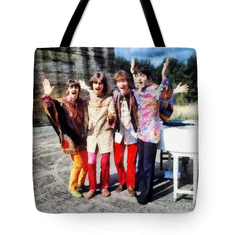 Hollywood Tote Bag featuring the painting Magical Mystery Tour, The Beatles by Esoterica Art Agency