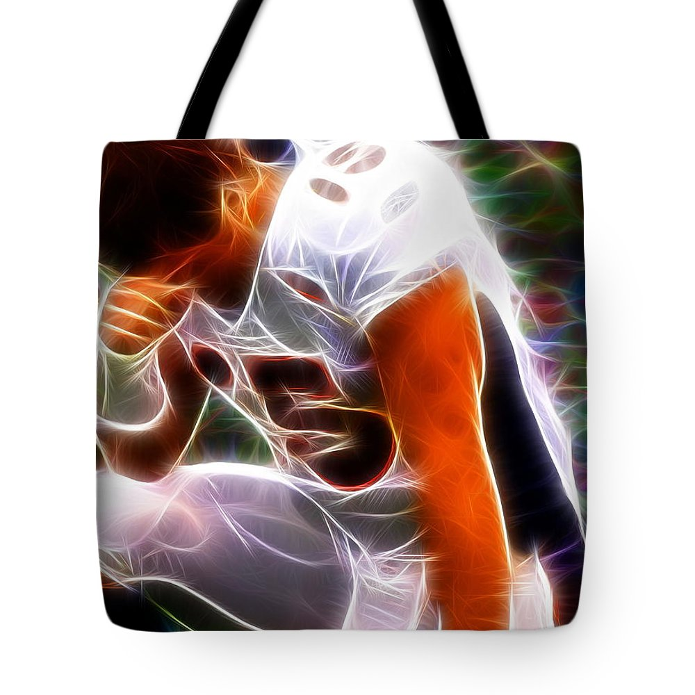 Tim Tebow Tote Bag featuring the painting Magical Tebowing by Paul Van Scott