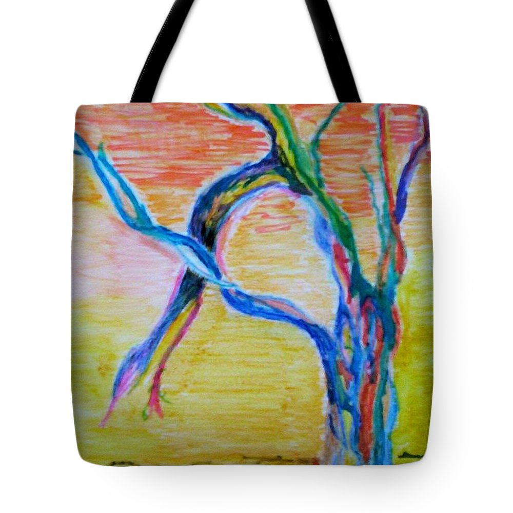 Abstract Painting Tote Bag featuring the painting Magical Tree by Suzanne Udell Levinger