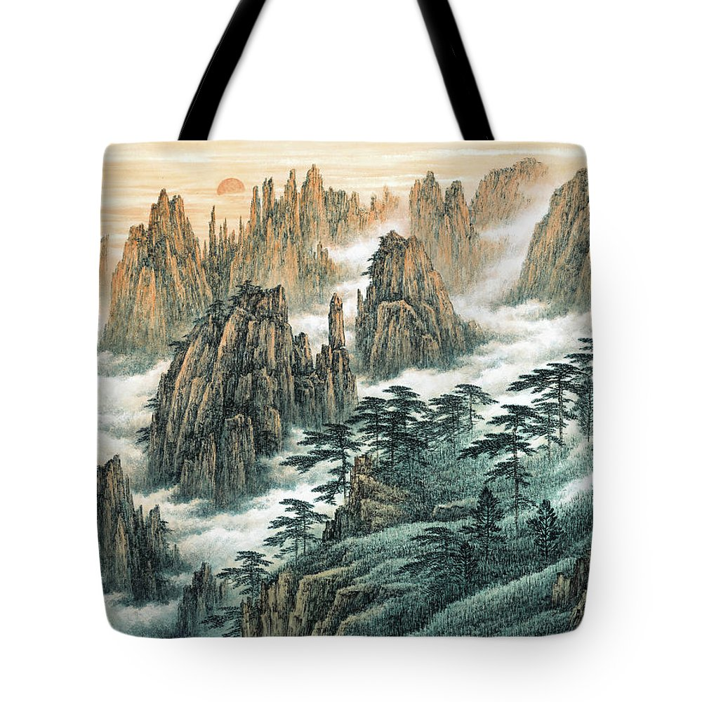 Magnificent Mount Huangshan Tote Bag featuring the painting Magnificent Mount Huangshan by Dong Xiyuan
