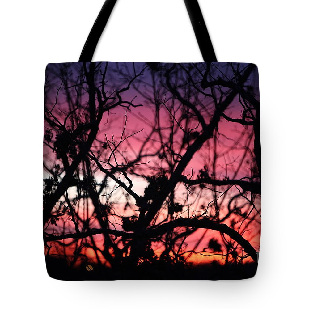Sunset Tote Bag featuring the photograph Magnificent Sunset And Trees by Nadine Rippelmeyer