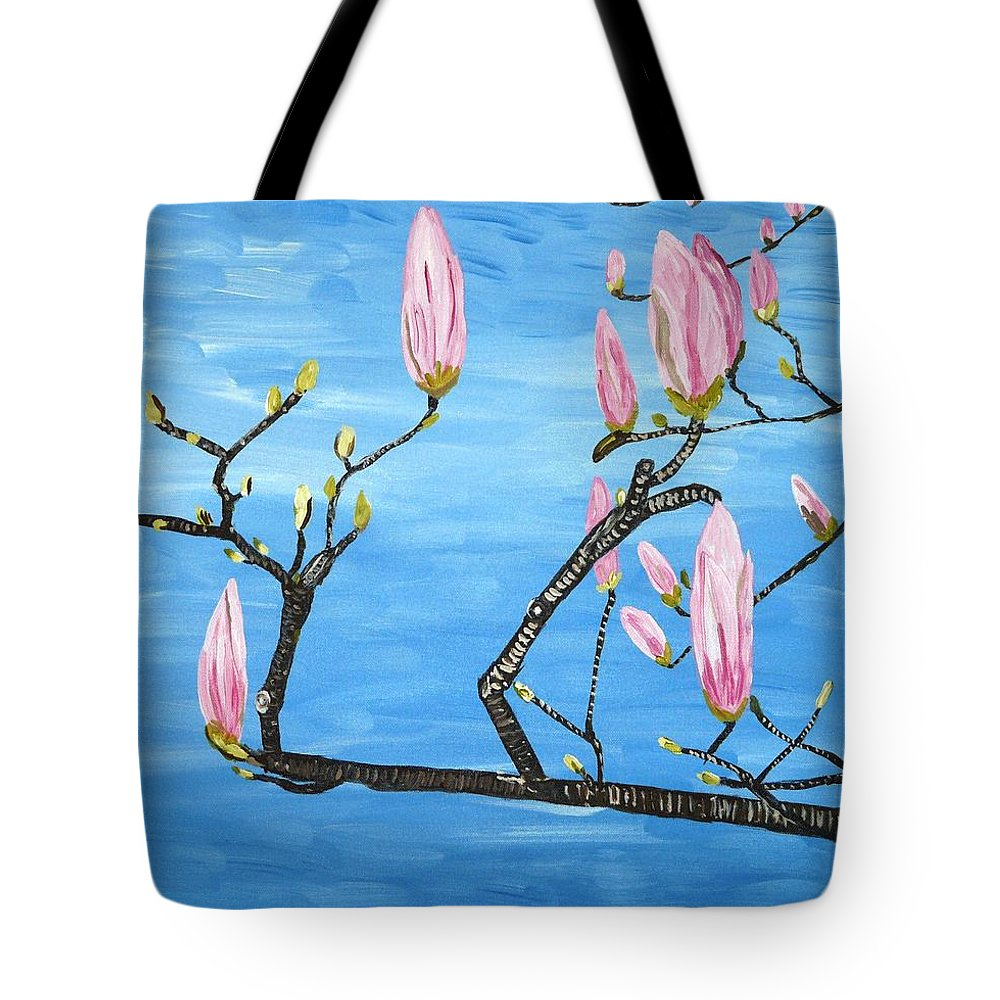 Magnolia Tote Bag featuring the painting Magnolia Blossom by Valerie Ornstein