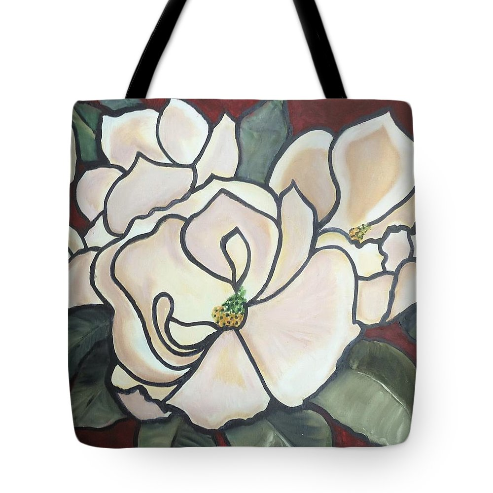 Flowers Tote Bag featuring the painting Magnolias Under Glass by Martha Mullins