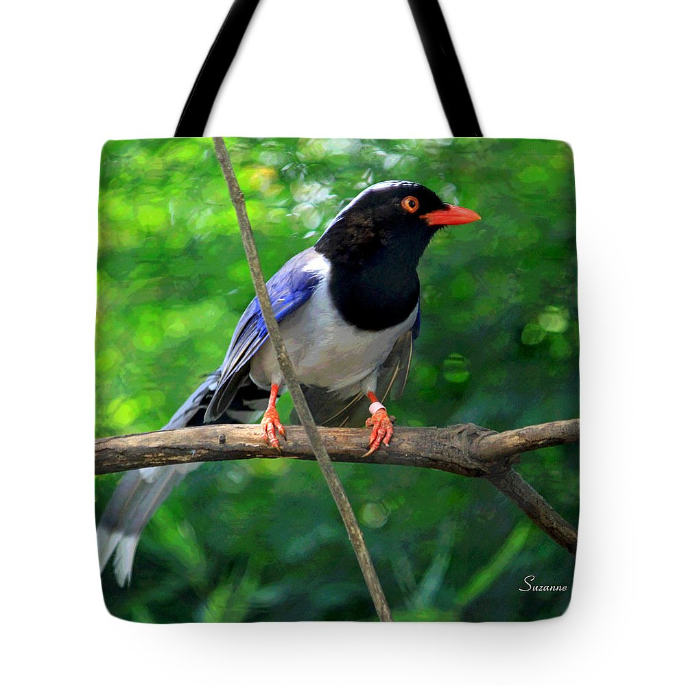 Magpie Tote Bag featuring the photograph Magpie II Enhanced by Suzanne Gaff