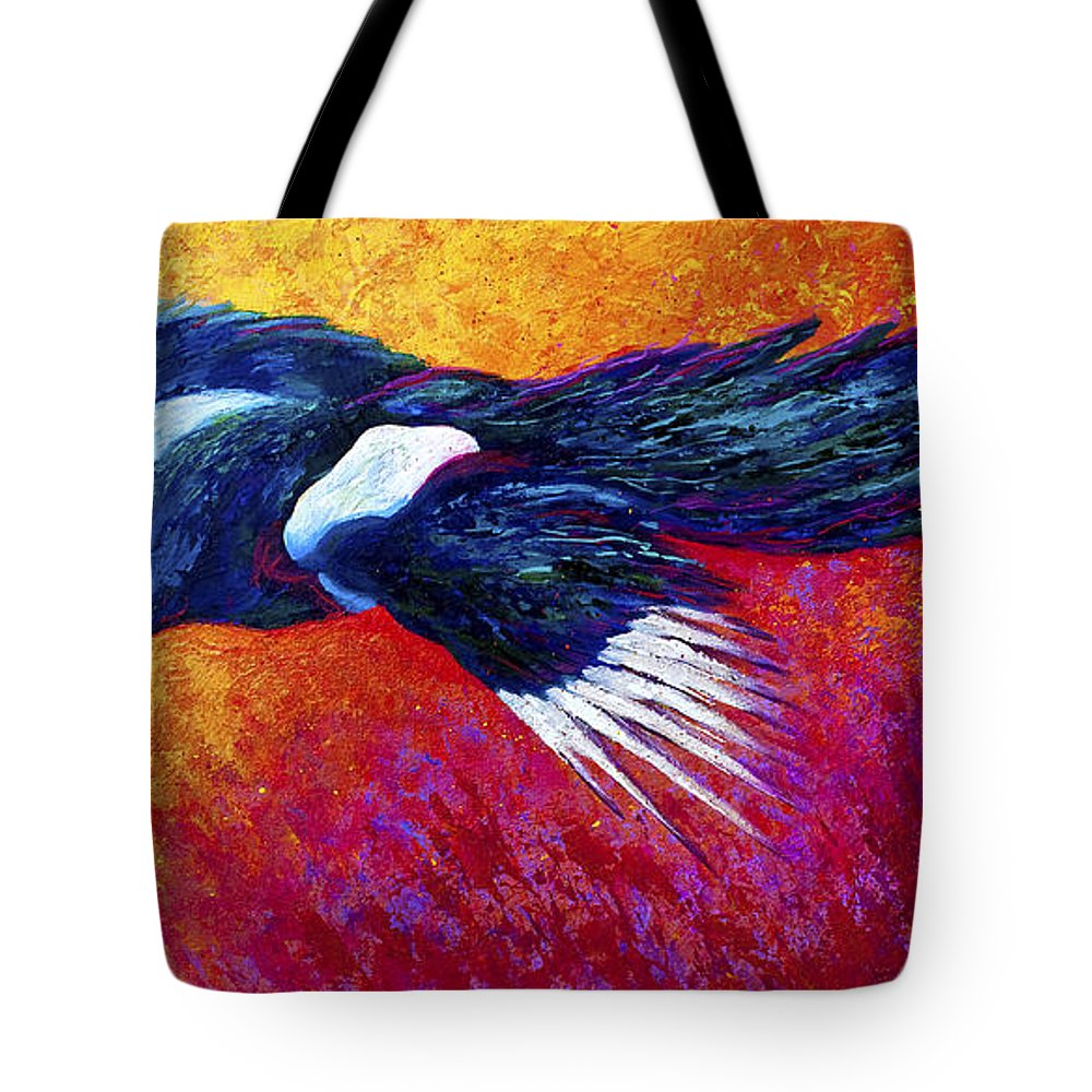 Crows Tote Bag featuring the painting Magpie In Flight by Marion Rose
