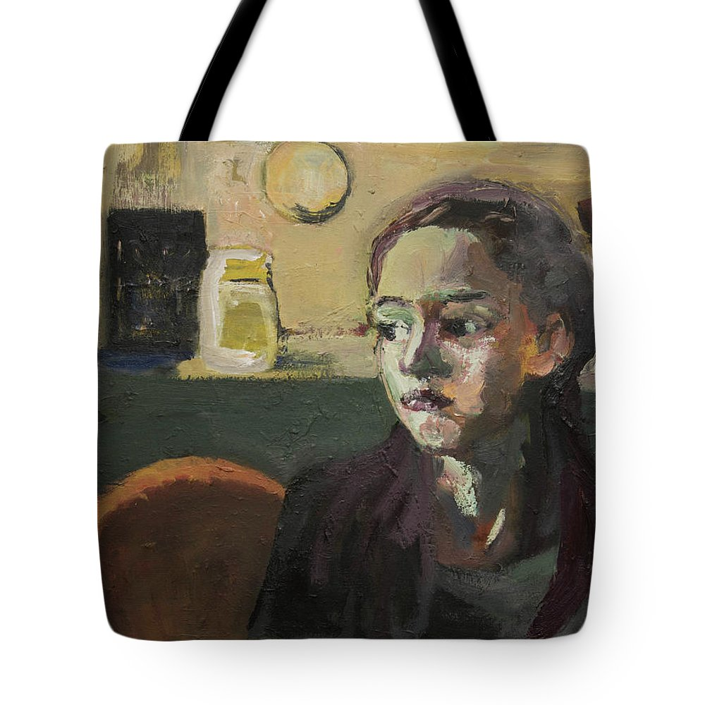 Young Girl Tote Bag featuring the painting Maiden In Cafe by Craig Newland