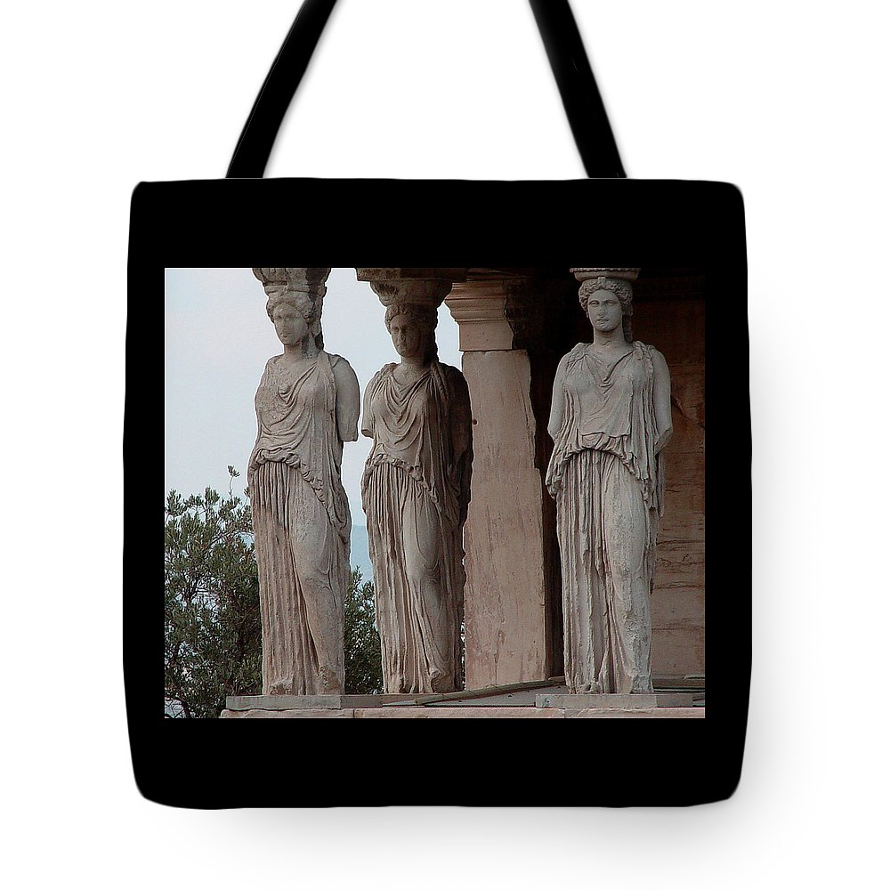 Athens Greece Tote Bag featuring the photograph Maidens Of The Porch by Nancy Bradley