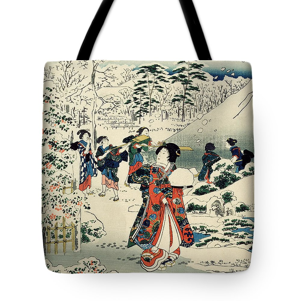 Maids In A Snow-covered Garden Tote Bag featuring the painting Maids In A Snow Covered Garden by Hiroshige