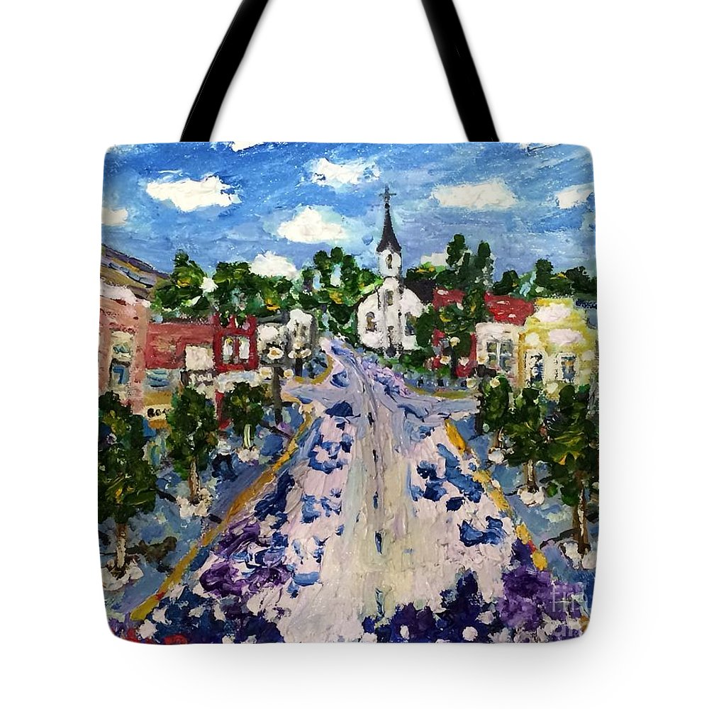 Harbor Springs Tote Bag featuring the painting Main Street by Julie Stratton