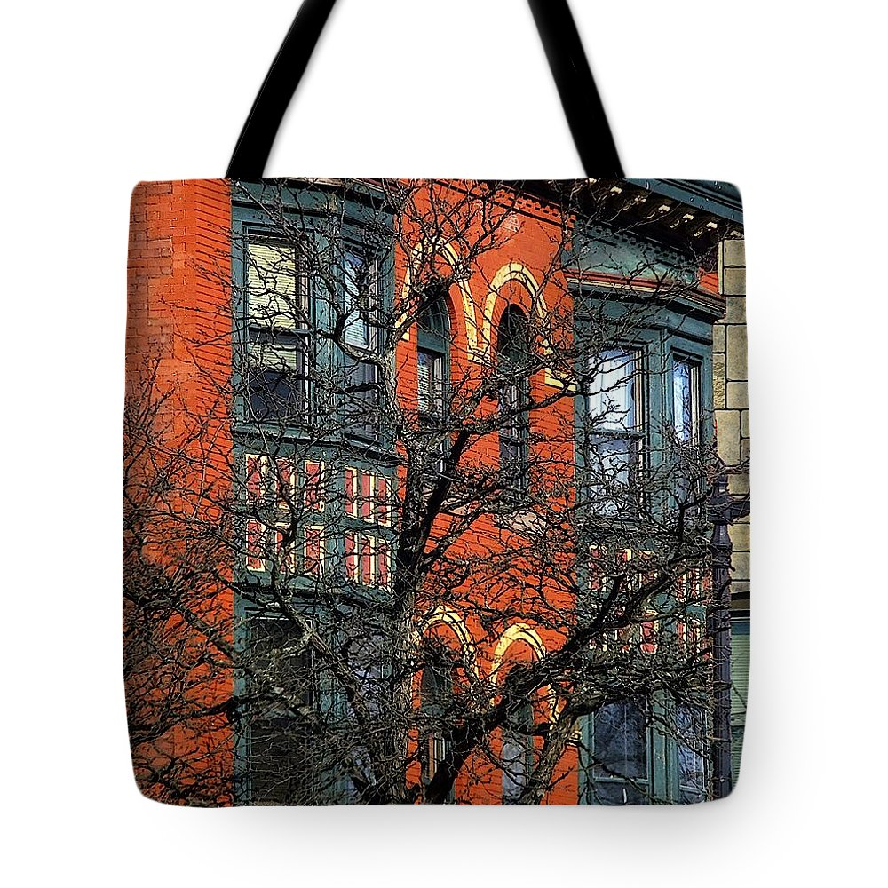 Bricks Tote Bag featuring the painting Main Street Middletown On A Sunny Spring Day by RC DeWinter