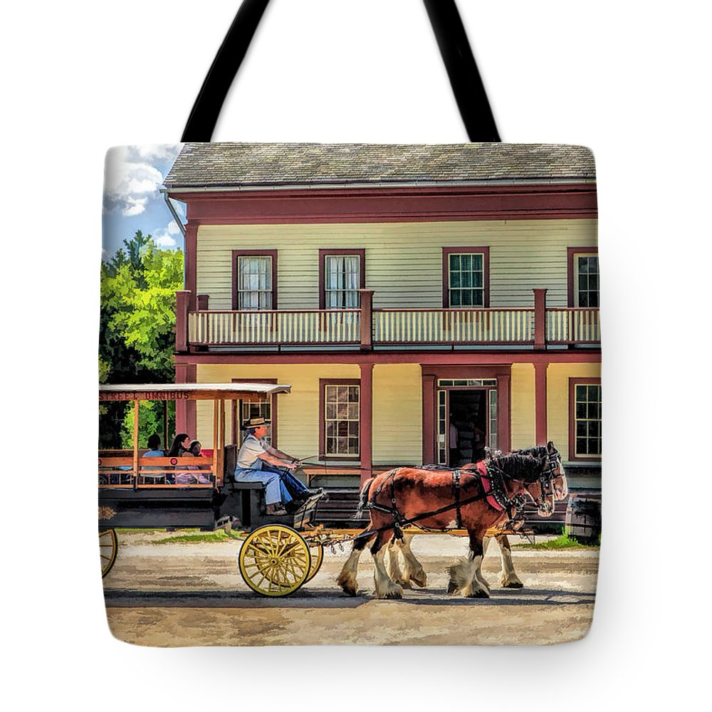 Old World Wisconsin Tote Bag featuring the painting Main Street Of A Bygone Era At Old World Wisconsin by Christopher Arndt