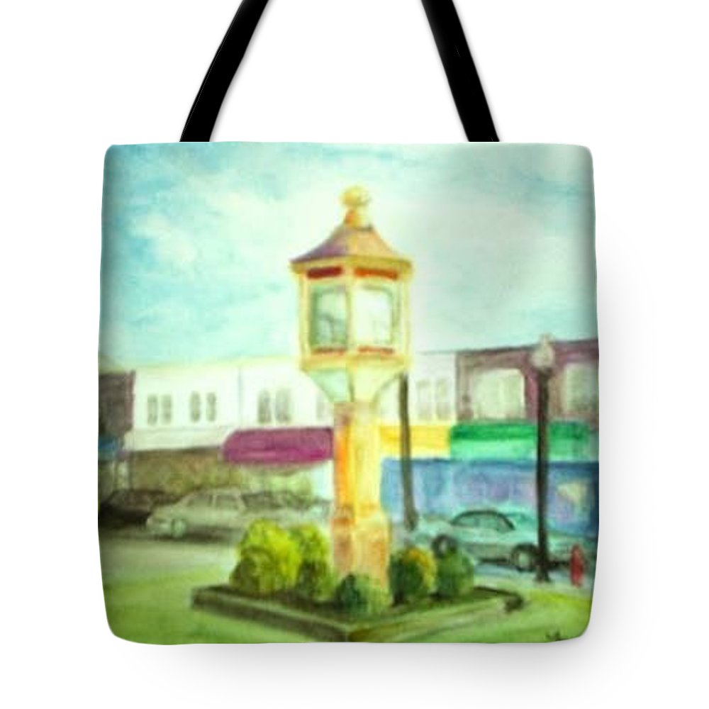 Clock Tote Bag featuring the painting Main Street by Sheila Mashaw