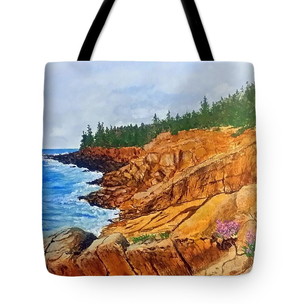 Otter Cliff Tote Bag featuring the painting Maine Coast Acadia National Park by William Tremble