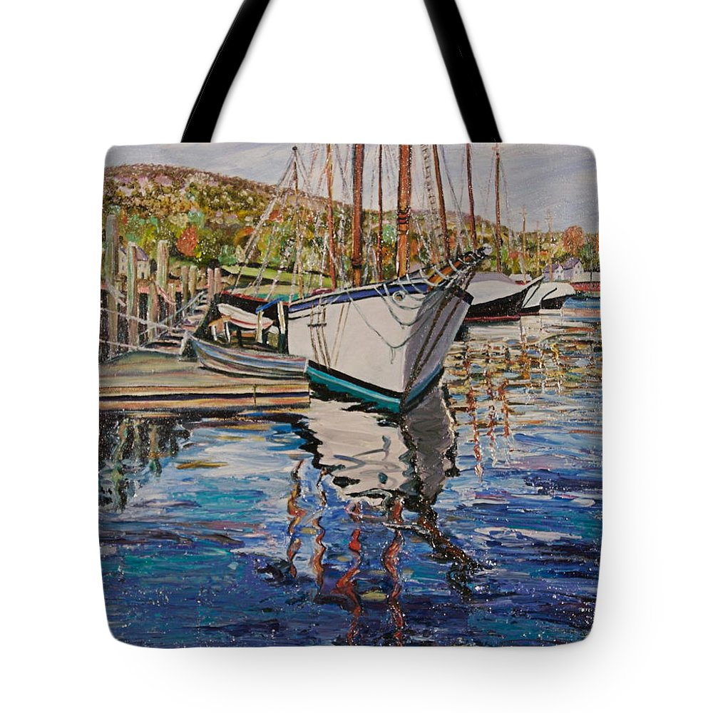 Maine Tote Bag featuring the painting Maine Coast Boat Reflections by Richard Nowak