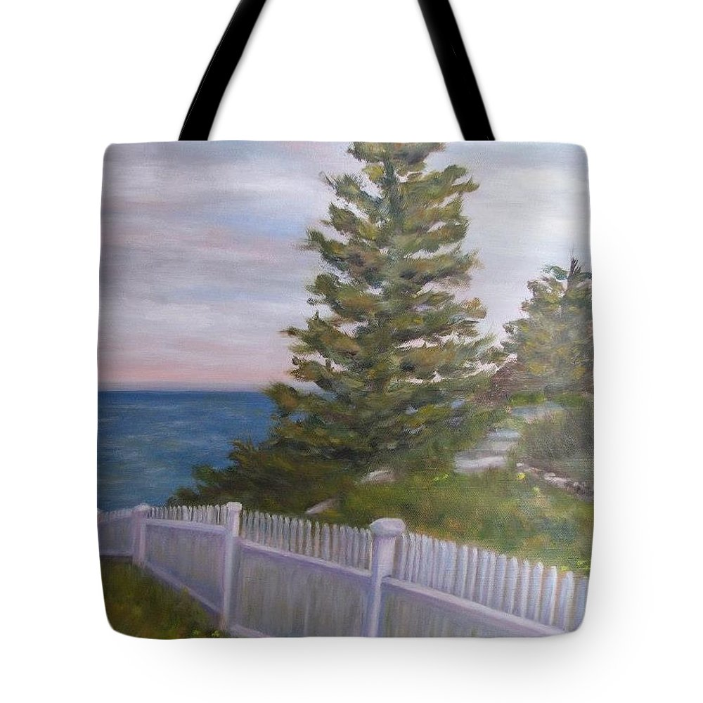 Landscape Tote Bag featuring the painting Maine Coast by Sandra Bourret
