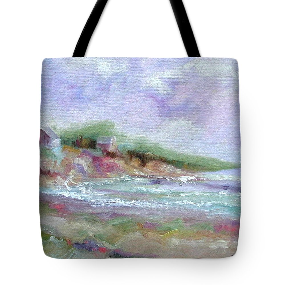 Maine Coastline Tote Bag featuring the painting Maine Coastline by Ginger Concepcion
