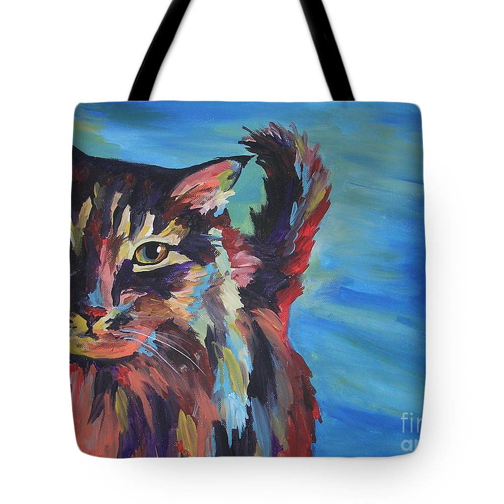 Cat Tote Bag featuring the painting Maine Coon by Caroline Davis