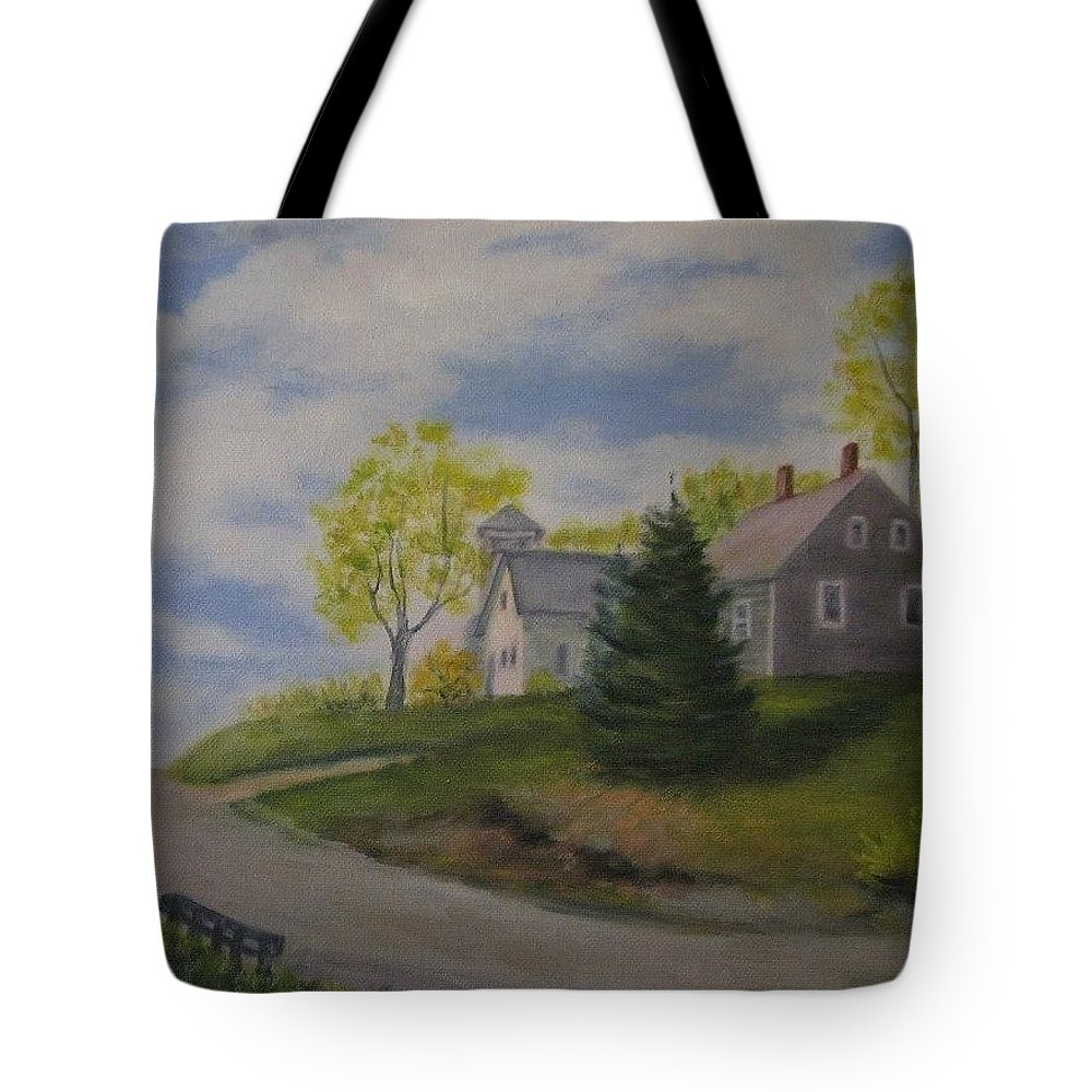Landscape Tote Bag featuring the painting Maine House by Sandra Bourret