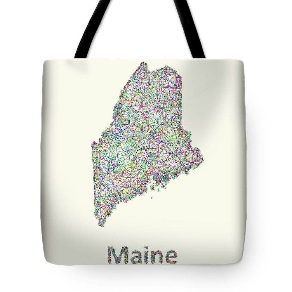 Maine Map Tote Bag featuring the digital art Maine Line Art Map by David Zydd