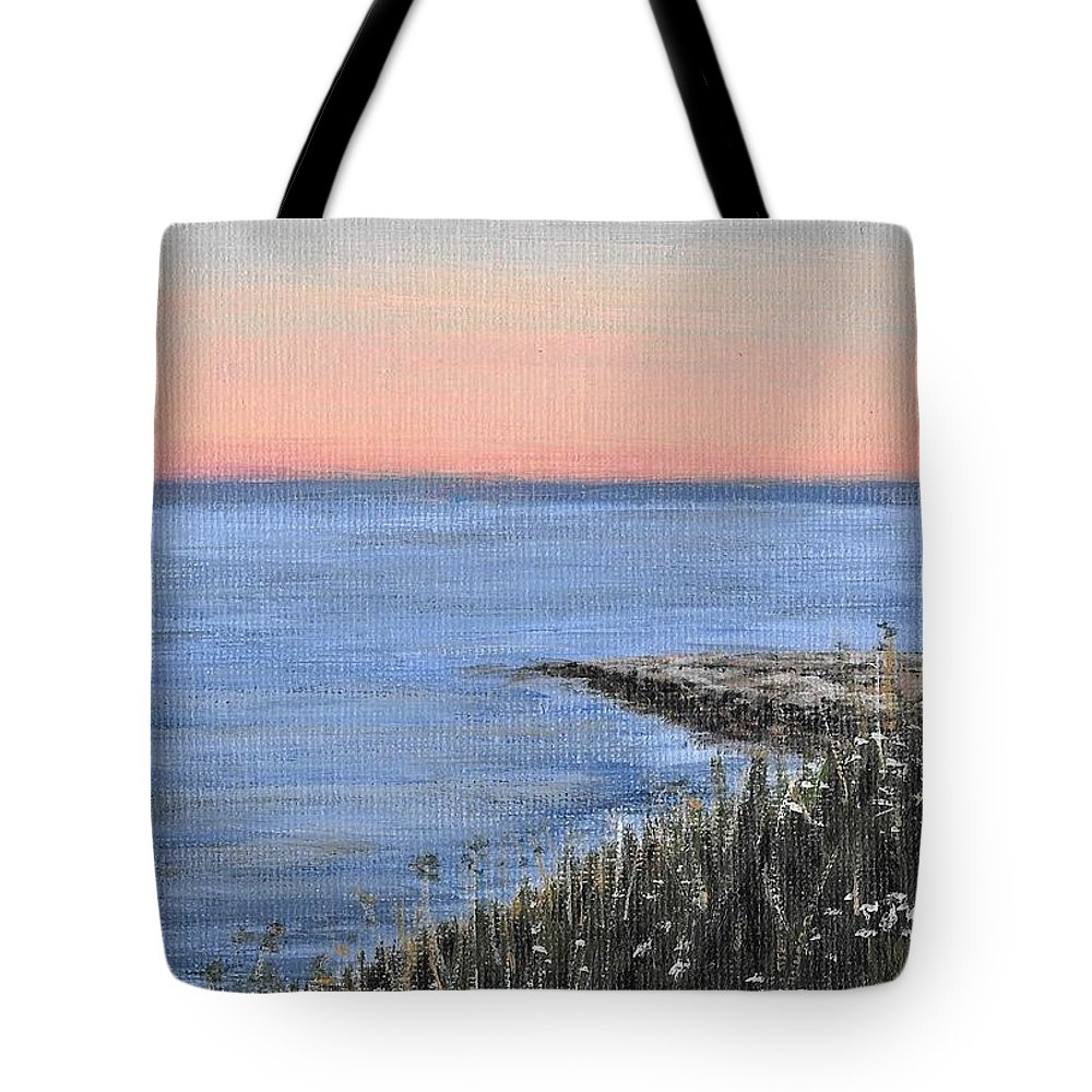 Acrylic Tote Bag featuring the painting Maine Sunset by Jennifer L Turner