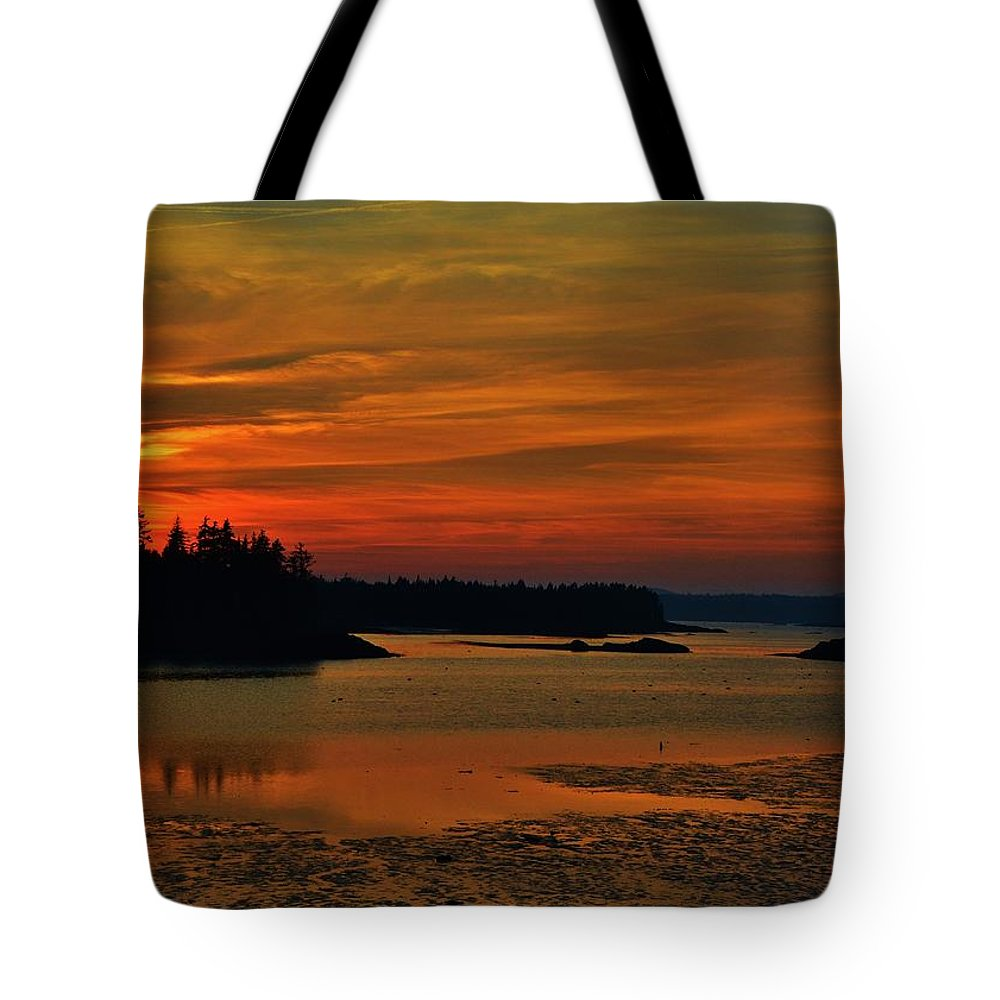 Sunset Tote Bag featuring the photograph Maine Sunset by Lisa Kane