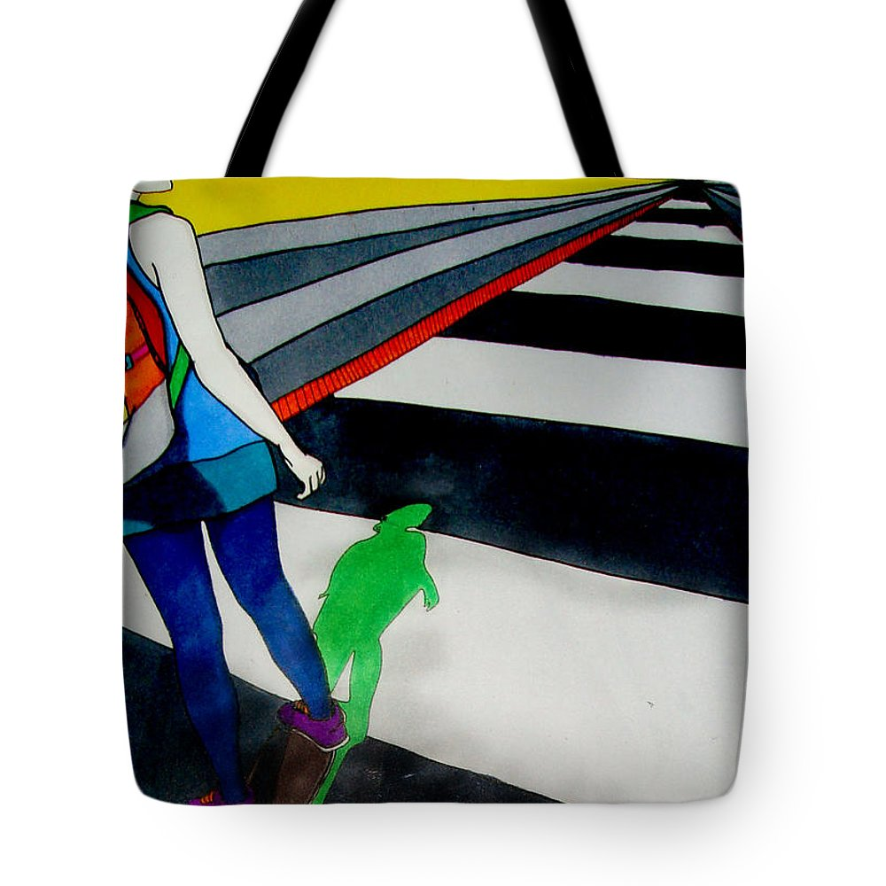 Skate Tote Bag featuring the drawing Maja Skate by Freja Friborg