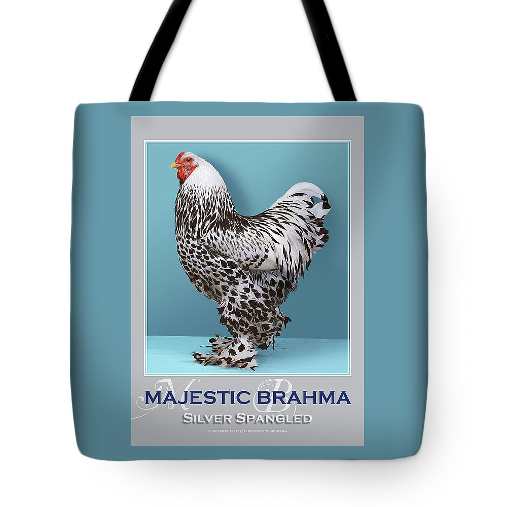 Poultry Tote Bag featuring the digital art Majestic Brahma Silver Spangled by Sigrid Van Dort