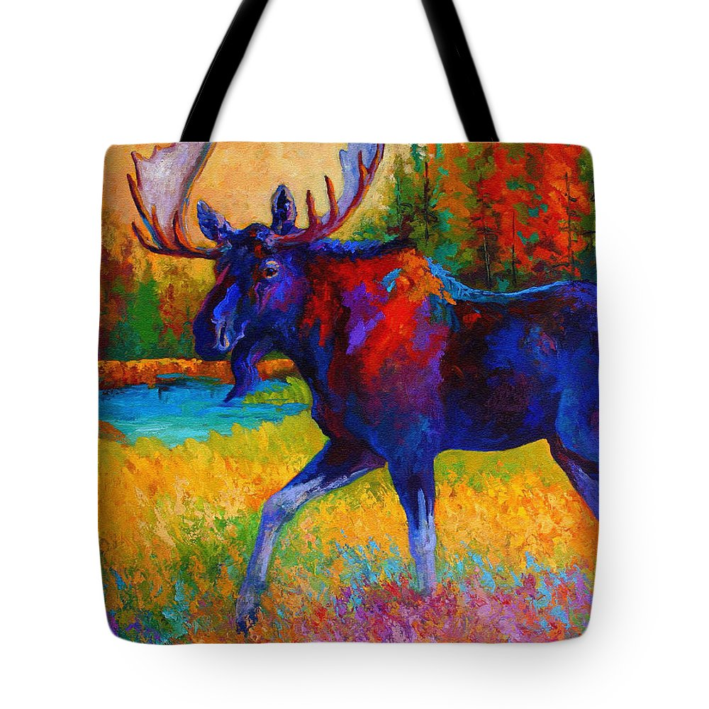 Moose Tote Bag featuring the painting Majestic Monarch - Moose by Marion Rose