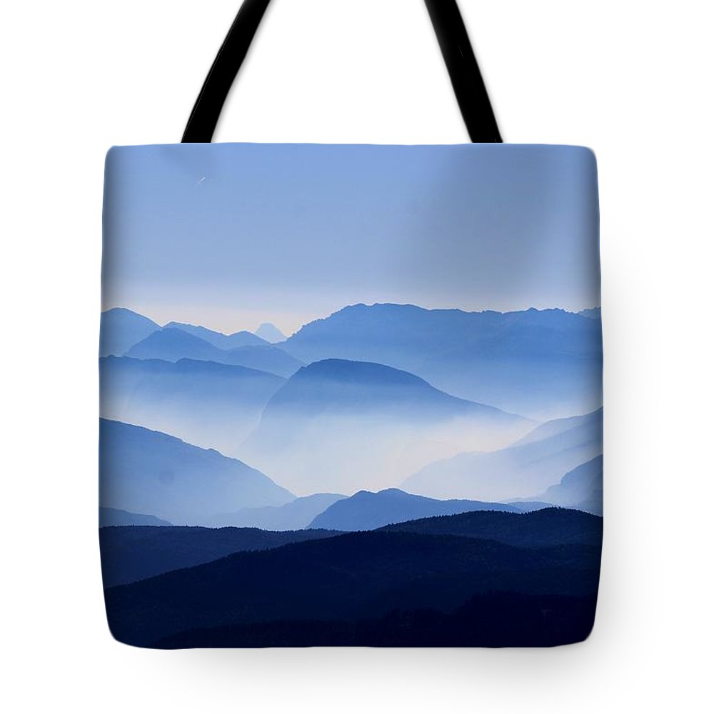 Blue Tote Bag featuring the photograph Majestic Mountains by Happy Home Artistry