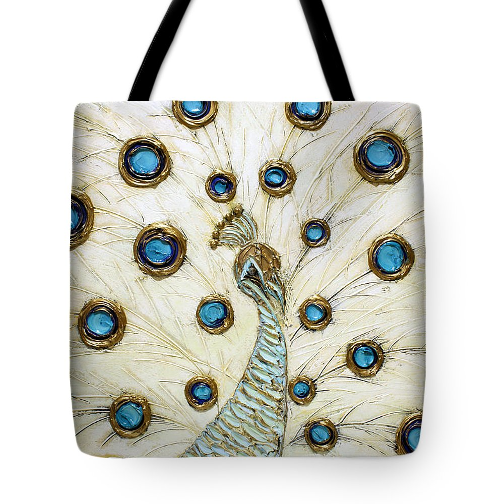 Peacock Tote Bag featuring the painting Majestic by Susanna Shaposhnikova